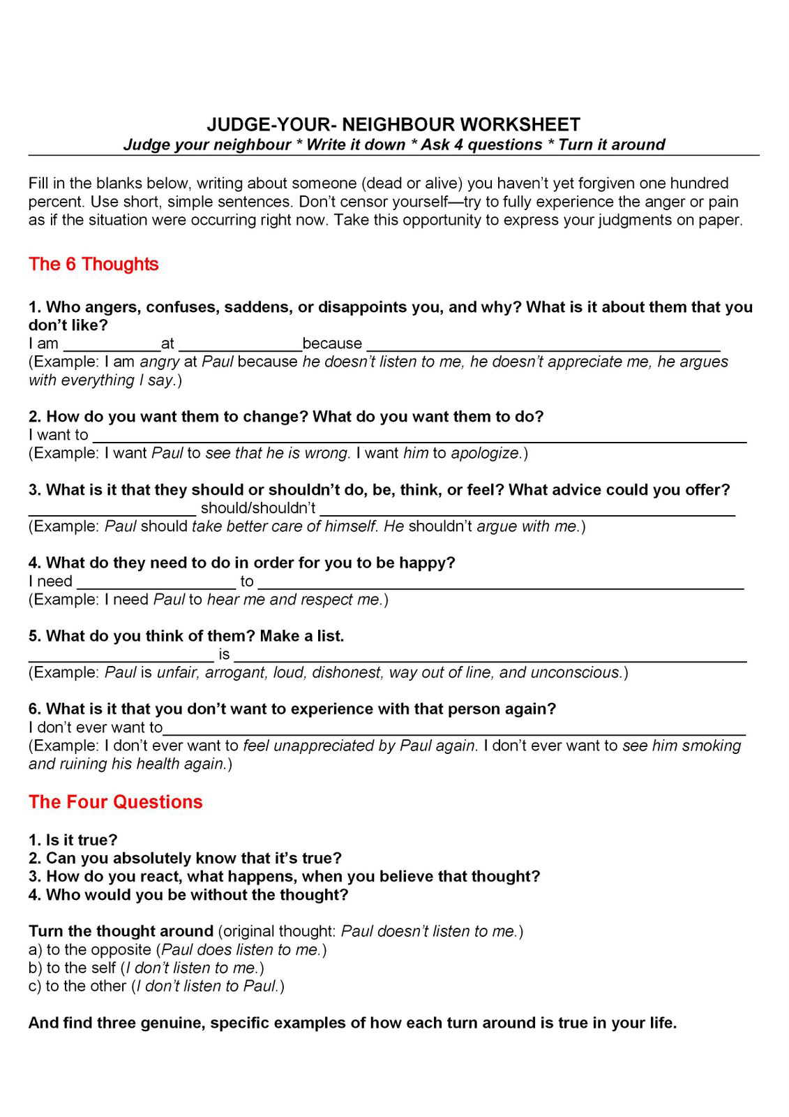 July 2014 Counseling TidBits – Byron Katie 4 Questions Worksheet